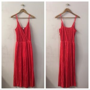 Love, Fire Red Pleated Wide Leg Jumpsuit